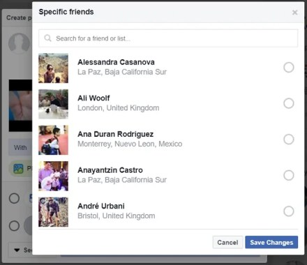facebook share video friends list