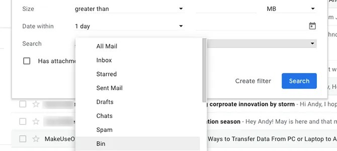 search spam or trash gmail