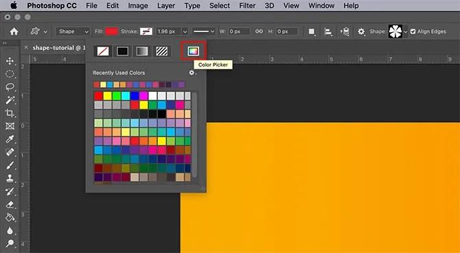 How to Use Custom Shape Tool Photoshop Color Picker