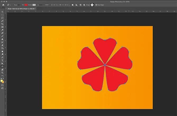How to use Custom Shape Tool Photoshop Shape on Page