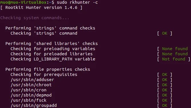 Rootkit Hunter tool for Linux