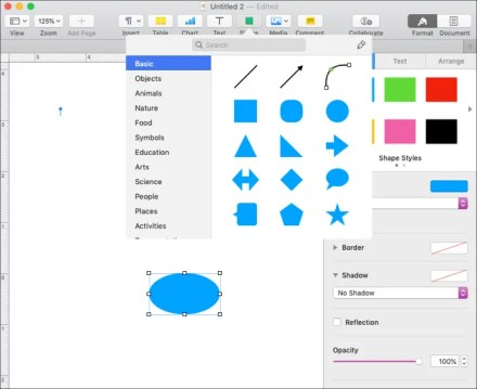 Insert Shape in Pages on Mac