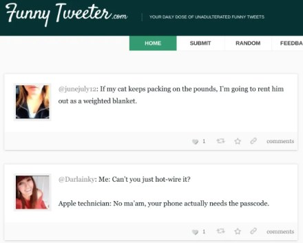 Funny Tweeter curates the funniest tweets on Twitter