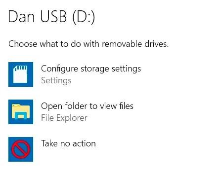 default options usb windows 10