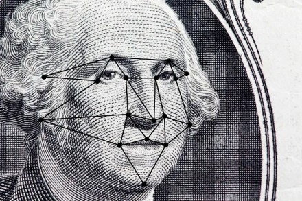 President's face on a dollar bill with facial recognition patterns mapped