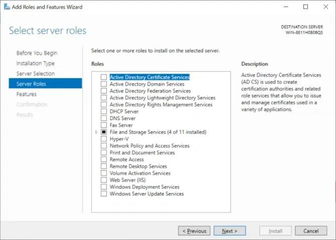 Windows Server Role Selection