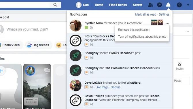 facebook xóa tùy chọn menu thông báo