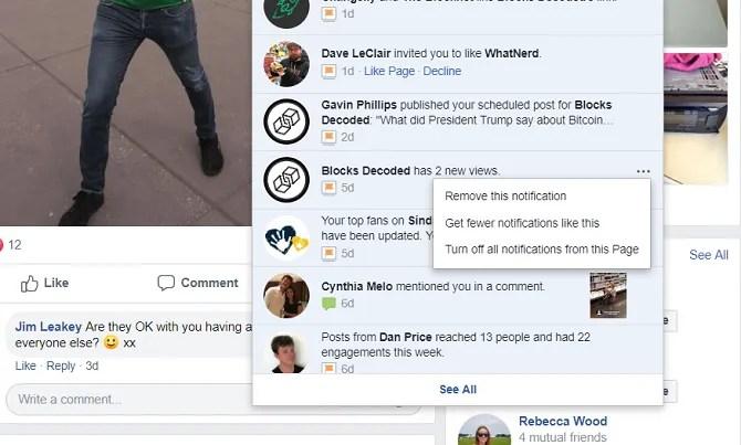 facebook tắt thông báo cho trang