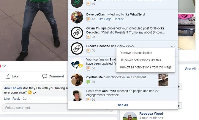 facebook turn off notification for page
