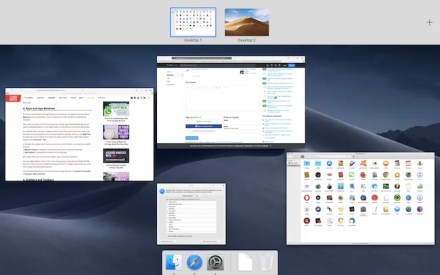 Mission Control view displaying all active apps and desktops on macOS