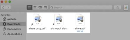 Symlink and alias for a file in Finder on macOS