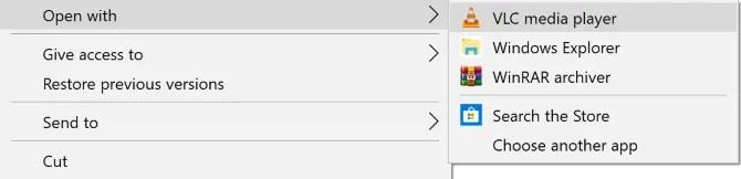 Windows 10 open with context menu