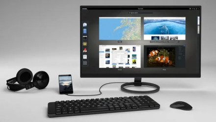 The Purism Librem 5 attached to a monitor
