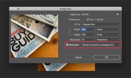 Photoshop Image Size Dialog Box Resample