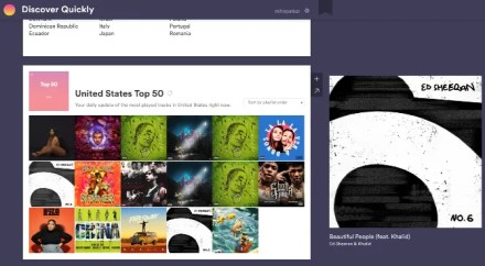 Discover Quickly is a neat web app by Spotify developers to find new music based on what you like