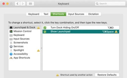 Current Keyboard Shortcuts Error Mac