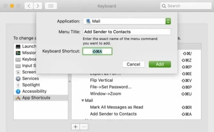 Mail Shortcut Add Sender to Contacts Mac