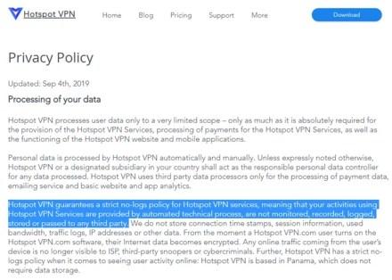 Hotspot VPN Privacy Updated