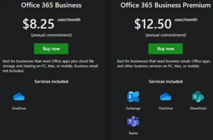 Office 365 Business Plans Compared