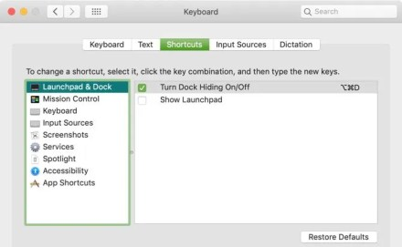 Show Launchpad Keyboard Shortcut Mac