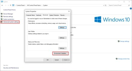 click environment variable in advanced system settings