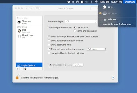 Enable fast user switching mac
