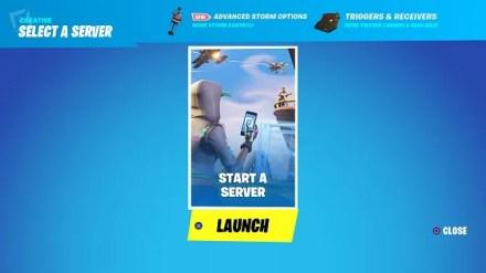 fortnite creative mode start server