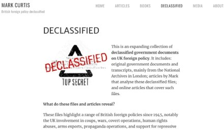 Mark Curtis's blog collects declassified documents about UK foreign policy