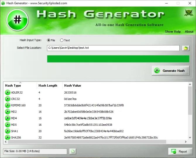 hash generator generate file hash