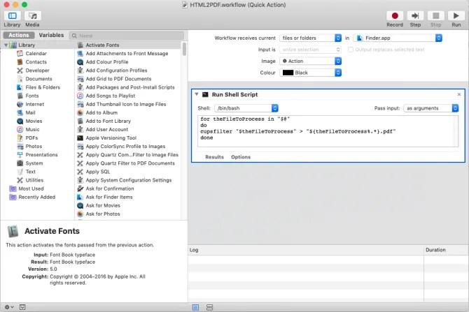 shell script to convert files in Mac