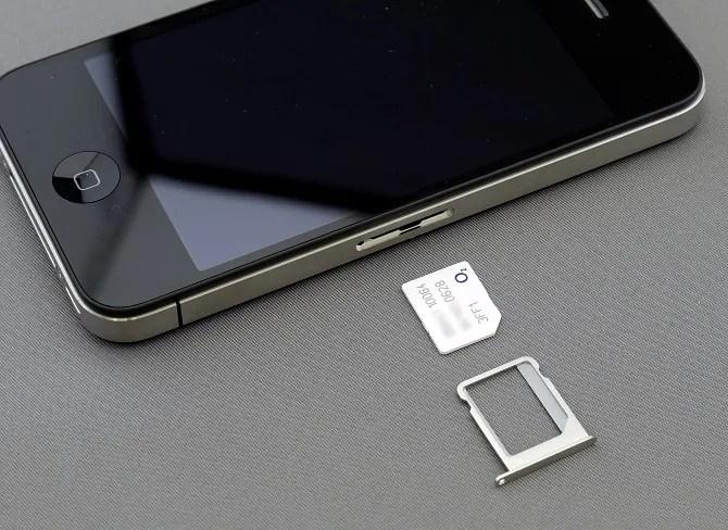 smartphone with sim card