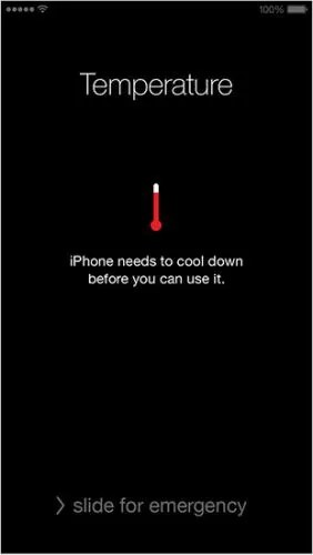 temperature cool down message in iPhone