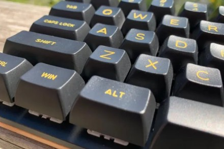 The yellow keycap color goes well with the cherry base