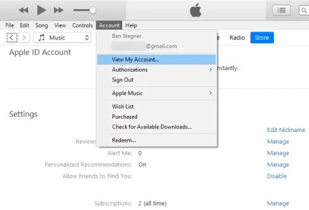 iTunes Windows Manage Subscriptions