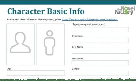 Basic Character Info Novel Writing Worksheet