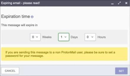 ProtonMail expiring email