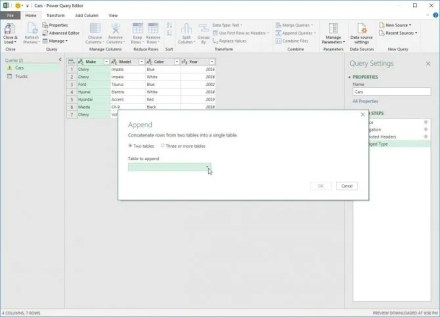 Appending Data Sets in Power Query for Excel