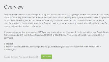 Google Framework Services ID input window