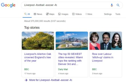 exclude words to help google search