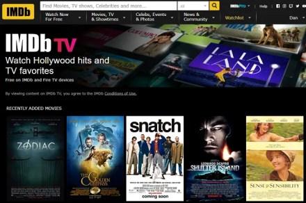 imdb tv homescreen