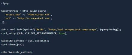 Use PHP to access the Scrapestack API