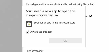The Xbox Game Bar ms-gamingoverlay error