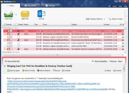 outlook spam filter mailwasher pro