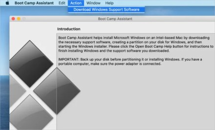 Download Windows Support Software option from Boot Camp menu bar