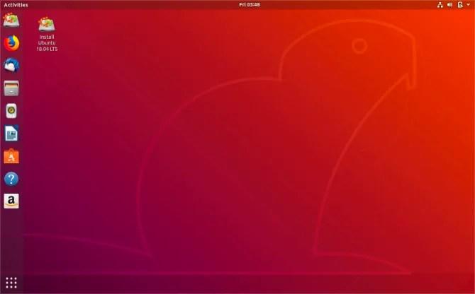 Рабочий стол Ubuntu с установкой образа диска Ubuntu