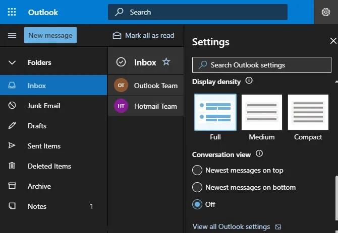 Все настройки Outlook в Интернете