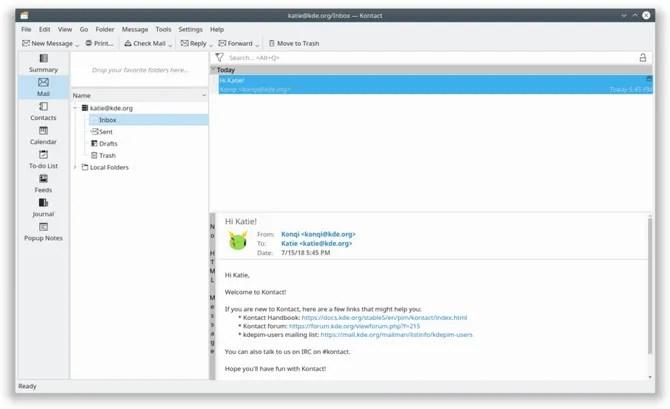 Почтовый клиент KDE KMail в Linux