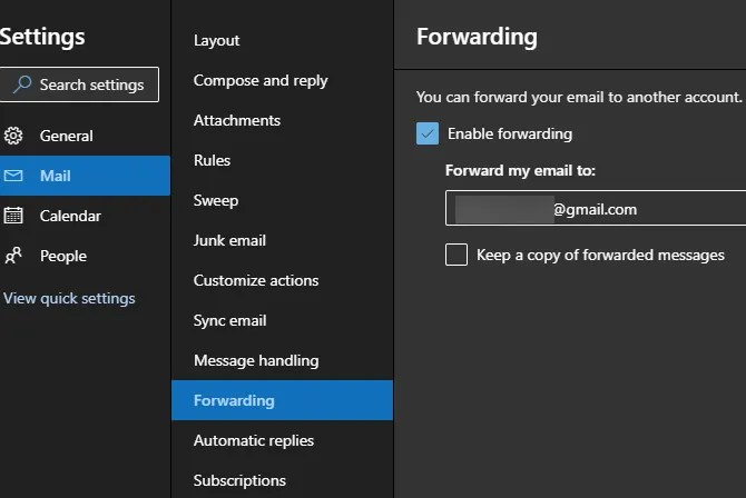 Outlook Web Forward Messages