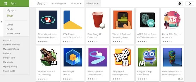 android arcore apps