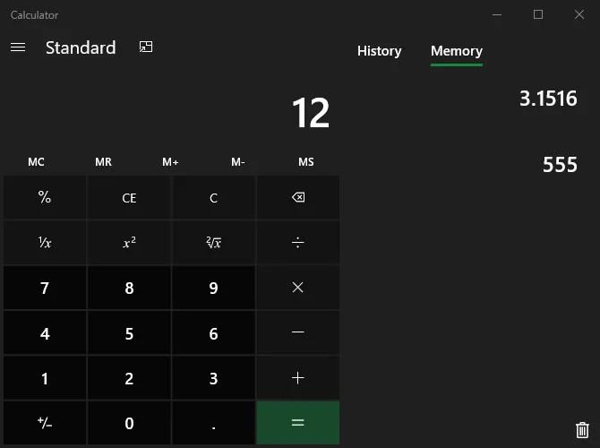 Память Windows Calculator